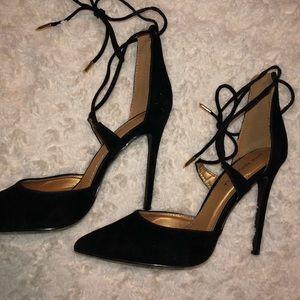 Black Suede Wrap Up Pointed Toe Heels
